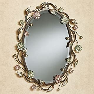 Touch of Class Oval Flower Metal Wall Mirror Wall Decor Pearl Accents
