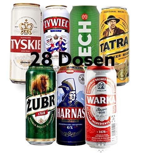 Mega Paket polnische Biere je 4 Dosen 500ml Zywiec Tyskie Zubr Warka Lech Harnas Tatra, die Bierwelt von Polen Testen mit 28 Dosen im Paket