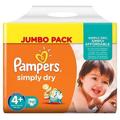 Pampers Windeln Simply Dry Gr. 4+ Maxi Plus 9-20 kg Jumbo Pack, 2er Pack (2 x 70 Stück)