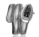 SW Watches Relojes De Pulsera De Mujer,Diseño De Cuerpo De Serpiente,Reloj De Pulsera De Cuarzo De Moda para Mujer con Caja De Diamantes De Imitación,Silver