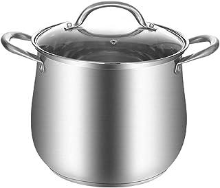 Liudan Olla de con Tapa Olla Olla con Tapa de Cristal Acero Inoxidable Espesar Inicio Sopa Pan Segura Sopa de Olla con Tapa de Utensilios de Cocina, de Plata Ollas Rectas (Color : A, tamaño : 18cm)