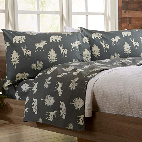 4-Piece Lodge Printed Ultra-Soft Microfiber Sheet Set. Beautiful Patterns Drawn from Nature  Comfortable  All-Season Bed Sheets. (Full  Forest Animal - Dark Grey)