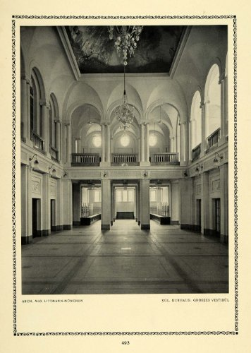 1913 Print Large Vestibule Interior Entrance Vault Max Littmann German Architect - Original Halftone Print