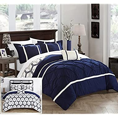 Chic Home Marcia 4 Piece Reversible Comforter Set Super Soft Microfiber Pinch Pleated Ruffled Design with Geometric Patterned Print Bedding with Decorative Pillows Shams, Full/Queen Navy