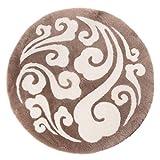 Classic Equipment - Alfombra de lana de pelo corto, estilo chino de lujo, redonda, zen, loto auspicioso, nubes chinas, sala de té, sala de estar, color (tamaño: 100 cm de diámetro)
