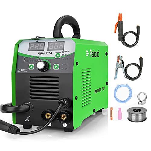 Reboot Mig Welder 4 in 1 Gas/Gasless IGBT Inverter Flux Core RBM-1300 Lift Tig MMA Mig Welding Machine AC 220V Multiprocess Welder Solid Wire MIG Welding Machine Newbie