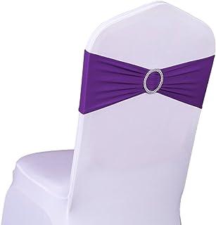 SINSSOWL 100 Stück Elastische Elasthan-Stuhlhussen Schleifen für Hochzeiten, Partys, Lieferanten, Dekorationen, Stuhlschärpen violett