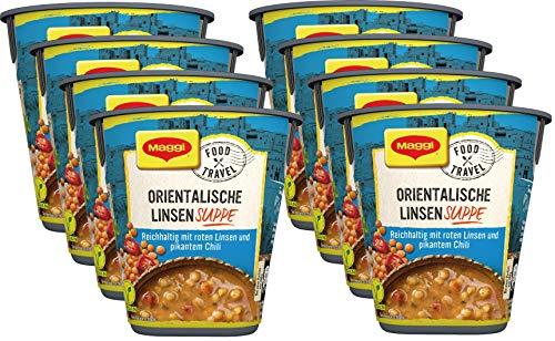 Maggi Food Travel Cup Orientalische Linsensuppe, reichhaltig mit roten Linsen und pikantem Chili, 8er Pack (8 x 48g)