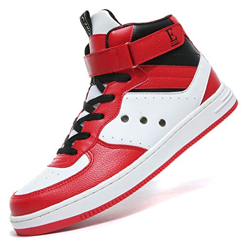 VITIKE Men's Athietic Lace Up Sneaker Fashion High Top Running Shoes Red/White