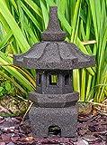 IDYL Stein-Laterne Leuchte Yukimi aus Lavastein - frostfest - Höhe 50 cm - Dekoration für...