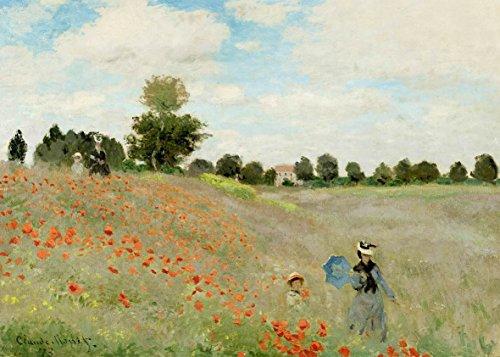 Claude Monet Coquelicots les coquelicots 70 x 50 cm cadre impression sur Panneau en bois MDF bord noir