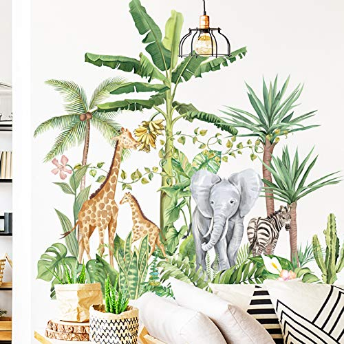 Tropical Rainforest Animals Plants Wall Stickers, AUHOKY Removable Cartoon Elephant Giraffe Nordic Plant Wallpaper Decor, Peel and Stick Art Murals for Kids Bedroom Background Nursery Home Decorations