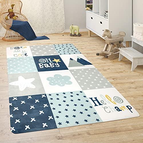 Paco Home Tapis Chambre Enfant Tapis De Jeux Tapis Bébé Animaux Arc-en-Ciel Coeur, Dimension:120x160 cm, Couleur:Bleu