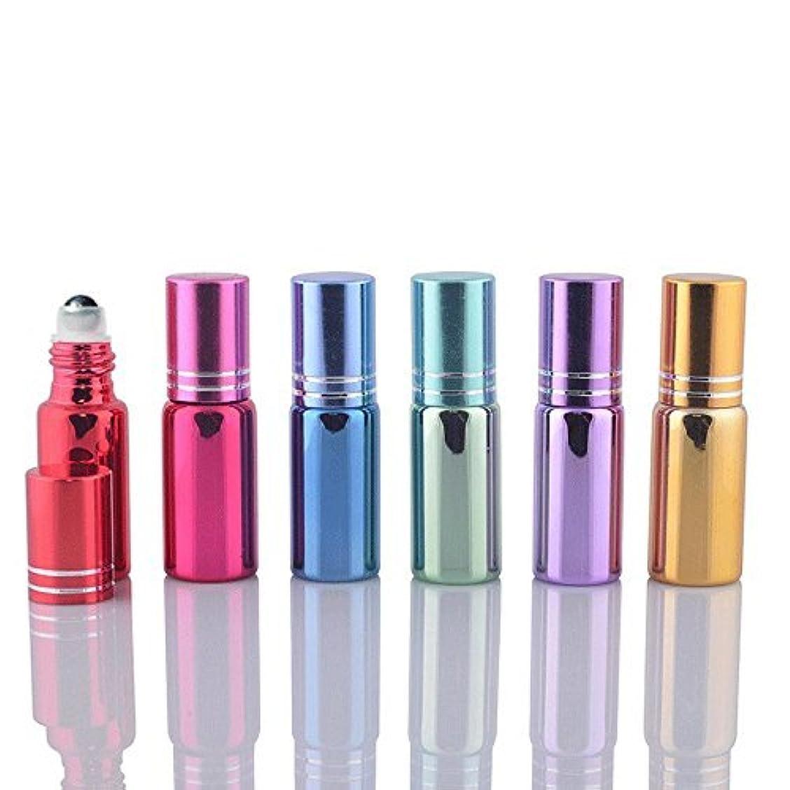 十一褐色平方6 Sets Assorted 5ml UV Coated Glass Roller Ball Rollon Bottles Grand Parfums Refillable Glass Bottles with Stainless Steel Rollers for Essential Oil, Serums,Fragrance, [並行輸入品]