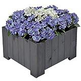 GASPO Blumenkasten Wels   aus massivem Holz   57 x 57 x 35 cm, Vintage grau   Pflanzkübel für Garten und Balkon