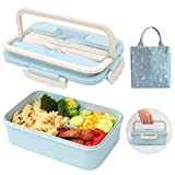 SAYOPIN Bento Box for Kids & Adults 3 Compartment, Wheat Fiber, Leak-Proof and Microwave-Safe Japanese Bento Lunch Box With Handle (Blue)