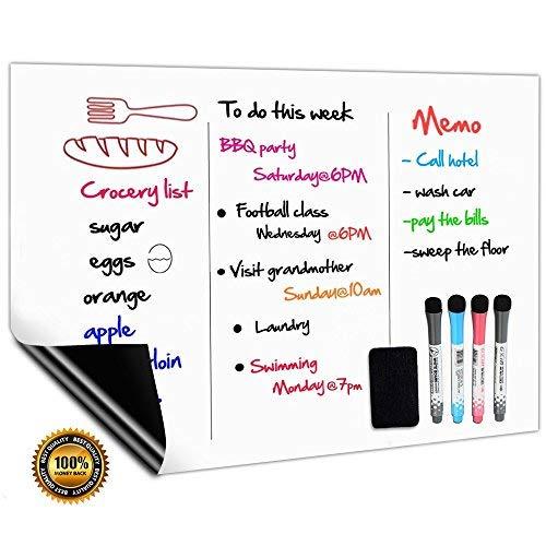 CUHIOY Magnetisches Whiteboard Kühlschrank Magnettafel A3 für Familie Menü Wochenplaner, Einkaufsliste, Memo Erinnerung Notiz,Kinder Graffiti abwischbar Flexible Magnet White Board,4 Markers 1Radierer