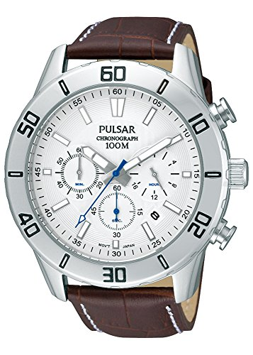 Pulsar Herren Chronograph Quarz Uhr mit Leder Armband PT3433X1