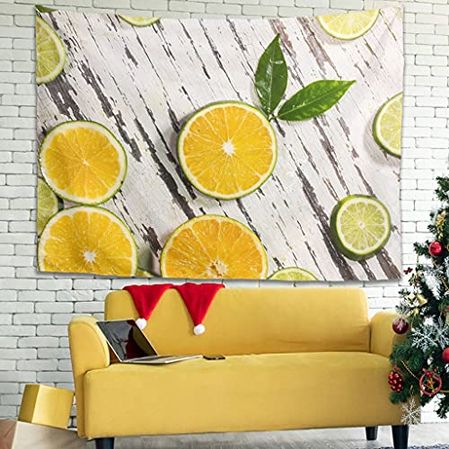 Zhenxinganghu Tapiz decorativo para pared con limón, para decoración de pared, para dormitorio o dormitorio, 200 x 150 cm, color blanco