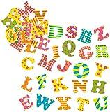 Baker Ross AF422 - Pegatinas de Letras Mayúsculas Divertidas (Pack de 4) de Espuma para Decorar Tarjetas, Cuadernos, Manualidades y Collages Infantiles