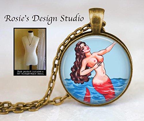 nijiahx Meerjungfrauen-Anhänger mexikanische Loterie – Meerjungfrauen-Anhänger – Retro-Halskette – Geschenk für Schwimmer – Liebe zum Schwimmen – Loteria Meerjungfrau – La Sirena Halskette