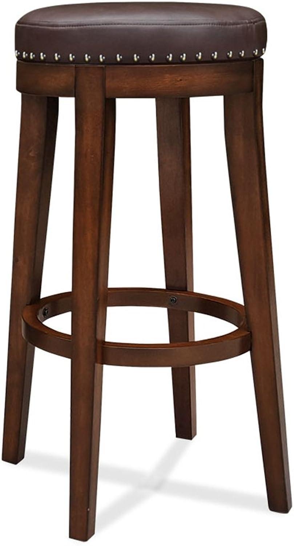 BO WEN HOME- European bar stool   solid wood bar stool American bar stool chair   round chair thick pad Home bar chair   bar stool High stool ( color   No backrest , Size   4960cm )