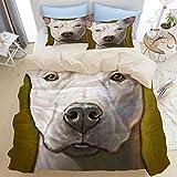 AIMILUX Ropa de Cama,Perro Blanco Honor Animal Amarillo Mascotas Pit Bull Perros Retrato de Mascotas hoyo,1x Cubierta Colcha 220x240cm,2(50x80cm)