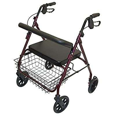 Days Heavy Duty Steel Bariatric Rollator, 700 lb. Weight Capacity, Adjustable Rolling Walker with Seat for Elderly, Disabled, Limited Mobility Patients, Walking Stabilizer with Four Wheels