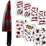 Outus Halloween Blutig Messer Fake Knife mit 7 Blatt Narbe Tattoo Aufkleber für Halloween Party...