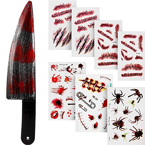 Outus Halloween Blutig Messer Fake Knife mit 7 Blatt Narbe Tattoo Aufkleber für Halloween Party Kostüm (Stil B)