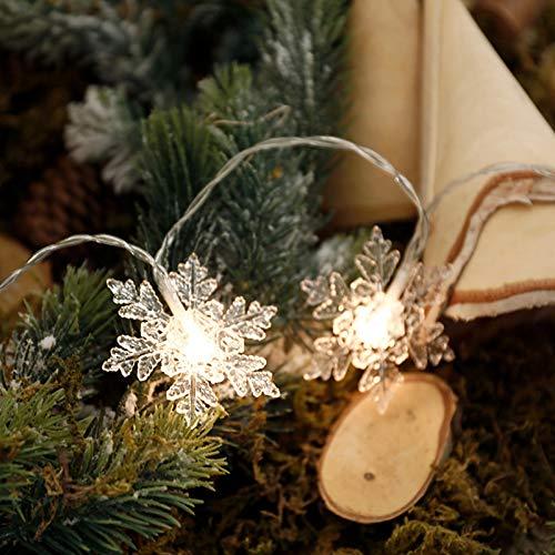 Yifan Luces de Navidad,Guirnalda led,Copos de Nieve Blancos cálidos,batería,Modelos enchufables y USB,8...