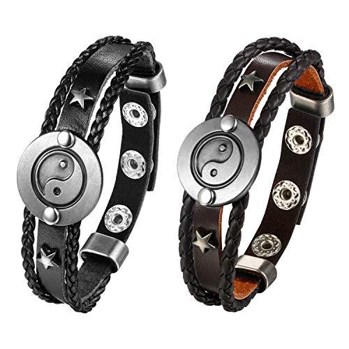 JewelryWe 2 pulseras de cuero para hombre y mujer, ajustables, con botones, Yin Yang Tai Chi, color negro y marrón 2 Pcs A