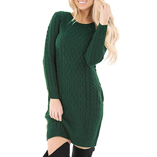 98c60b08750 Spadehill Women s Cable Knit Long Sleeve Winter Sweater Dress