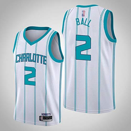 SHR-GCHAO Jersey De Baloncesto para Hombres, NBA Charlotte Hornets # 2 Lamelo Ball Fans Jersey, Gimnasio Ocio Suelto Sin Mangas Vestir Chaleco Camiseta,Blanco,XXL(185~190cm)