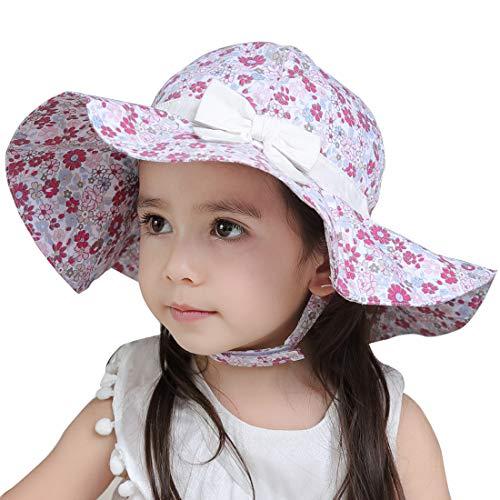 Wantbgd Sombrero Protección Sol Niñas Bebé Algodón Anti UV Gorro Solar Plegable con Barbijo ala Ancha para Viaje Playa Verano
