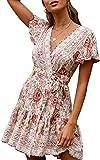 ECOWISH Damen Kleider Boho Vintage Sommerkleid V-Ausschnitt A-Linie Minikleid Swing Strandkleid mit Gürtel 045 Beige S