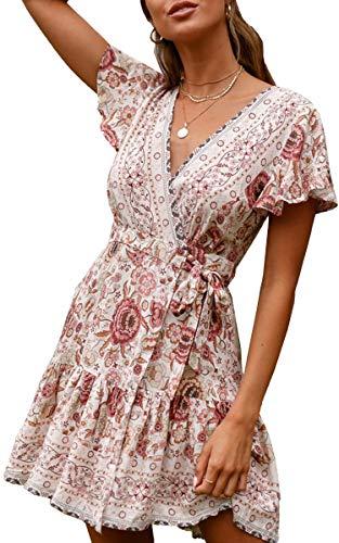 ECOWISH Damen Kleider Boho Vintage Sommerkleid V-Ausschnitt A-Linie Minikleid Swing Strandkleid mit Gürtel 045 Beige M
