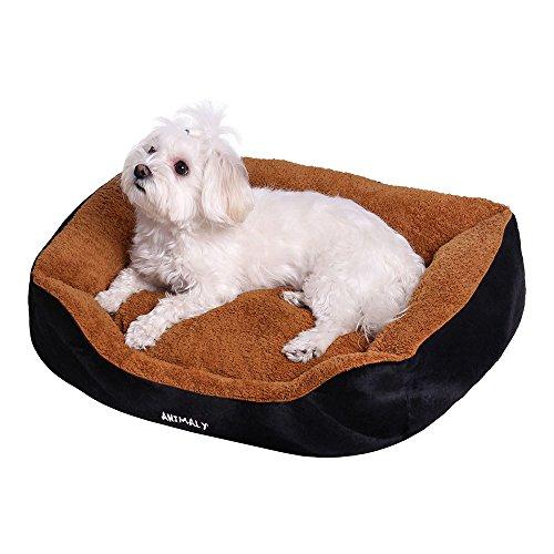 MYANIMALY FLUFFY huisdierbed hondenmand kattenbed (50 x 40 cm), zacht en knuffelig met uitneembaar kussen, perfect voor kleine honden en katten, bruin