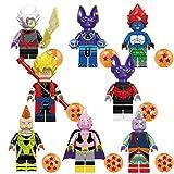 Phy Dragon Ball Z 8PCS Figurines de Personnages Son Goku Xeno Beerus Majin Buu Dyspo Zamasu Android 13 Kaiōshin Android 16 DBZ Collectibles Jouet Modèle Statues Cadeau pour Enfants 8PCS-4.5CM