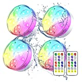 Njeury 4 Pack Submersible LED Pool Lights, IP68 Waterproof Underwater Pond Lights, Color Changing Bathtub Lights with RF Remote, Magnet, Suction Cup, for Hot Tub, Pool, Fountain, Aquarium, Vase Decor