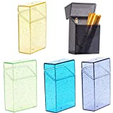 NUANNUAN 5 Pcs Cigarette Case Transparent Glitter Thin Cigar Box Plastic Lipstick Lighter Storage Pocket Carry Smoking Tool Container,Men Women Exquisite Cigarette Holder for Outdoor Camping Hiking
