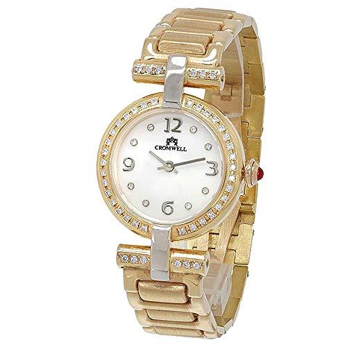 18k orologio d'oro Cromwell donna brillare sfera opaco perla diamante lunetta indicatori brillanti