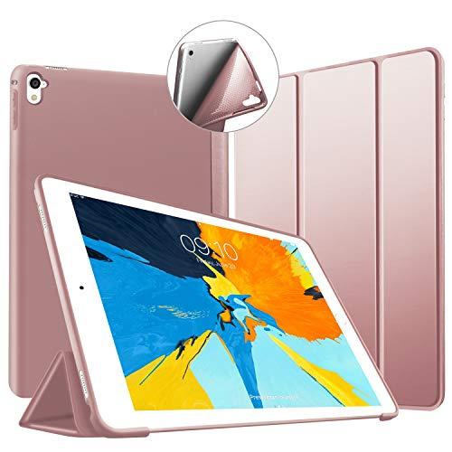 VAGHVEO Funda para iPad Pro 9,7 2016, Ultra Delgada Smart Carcasa con Auto-Sueño/Estela Función, Flexible de Goma Suave Cover Protectora Estuche Plegable para Apple iPad Pro 9.7 Pulgadas, Oro Rosa