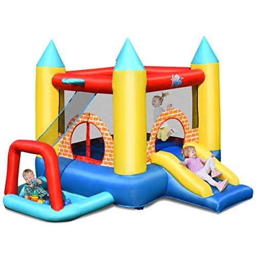 COSTWAY Castillo Hinchable con Tobogán y 30 Bolas para Infantil Centro de Juego de 300x280x210 cm Sin Soplador
