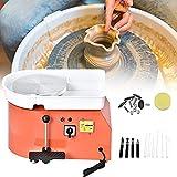 KKTECT Rueda de cerámica eléctrica naranja, máquina formadora de ruedas de cerámica 350W 25CM con pedal manual y lavabo desmontable (Clásico)