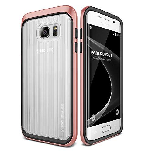 VRS DESIGN Urcover Custodia Compatibile con Samsung Galaxy S7 Edge Shine Guard Cover Leggera Back-Case Trasparente Rigida Bumper antishock Protezione Retro - Rosa Dorato