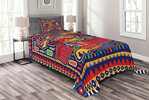 Lunarable Colcha mexicana, patrón cultural colorido arte arte serpiente abstracta en estilo folk vivo, juego de 2 piezas acolchado decorativo con funda de almohada, tamaño individual, naranja mostaza
