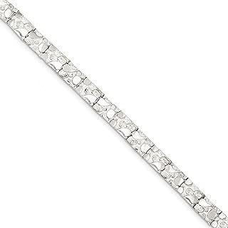 Solid 925 Sterling Silver Nugget Bracelet (7mm)