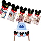 Mouse Baby Photo Banner, First Year Monthly Photo Mouse Banner for Baby 1ST Birthday Party Decorations (Mouse Banner)