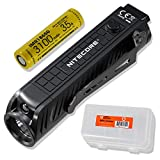 Nitecore P18 1800 Lumen Compact Flashlight with Silent Tactical Switch and Auxiliary Red LED Rechargeable Battery and LumenTac Battery Organizer